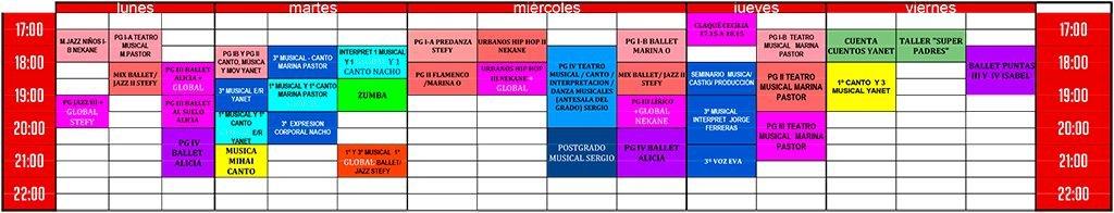 horario de clases de canto, música y danza